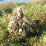 Coach and Handler Abby with 2 limits of Ducks - 8 Green Wing Teal and 4 Mallards. Fall 2008